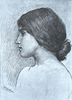 Head of a Girl - J. W. Waterhouse  Charcoal drawing