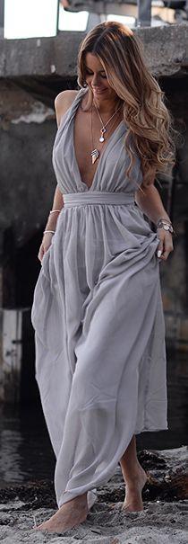 Grey Bohemian Summer Maxi Dress by Annette Haga