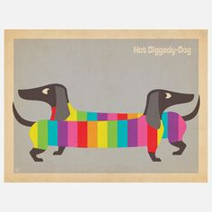 Mod Rainbow Wiener Dogs Print, $29, now featured on Fab.