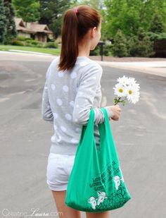 DIY t-shirt tote bag from Creating Laura.  A super simple sewing project!  #upcycle