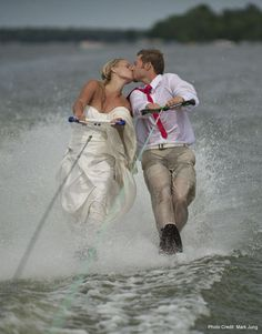"""Waterskiing Wedding - My """"Ski Nut"""" husband would have loved this! So glad he didn't think of it!!!!!"""
