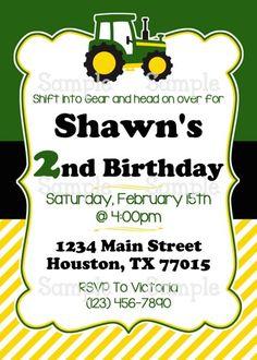 Printable Green Tractor for Boys Personalized Birthday Invitation   aMerAZNStyLe - Digital Art  on ArtFire