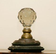 19th C Glass Newel Post Finial