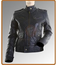 Slim Fit Women Navy Blue Leather Jacket | Ladies Leather Jacket ...