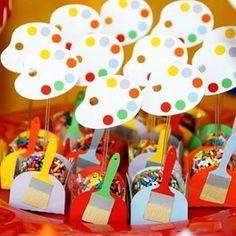festa infantil tema aquarela - Pesquisa Google Kids Art Party, Craft Party, Art Birthday, 6th Birthday Parties, Art Themed Party, Party Themes, Happy Party, Paint Party, Art Classroom