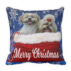 Shih tzu Pillow Christmas - dog puppy dogs doggy pup hound love pet best friend