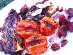 Grilled Balsamic Radiccio Salad with Grilled Tomatoes and Cranberries. Wow! This was so good!!!