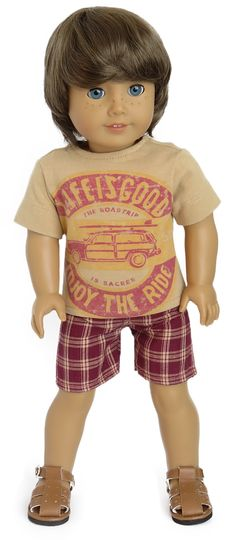 American Boy Doll Clothes | Woodie Surfboard Outfit for American Boy Doll