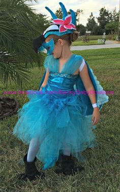 Girls Bird Costume Blue Macaw Dress Mask by BeckyBabyBoutique