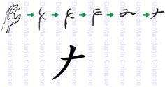 La mano y su forma en chino X, ? X