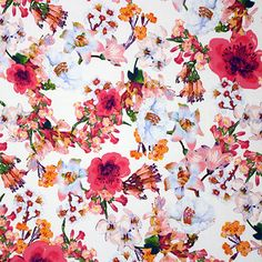 Ditsy Roses and Hearts Traditional 100/% Cotton Poplin Fabric Pink Ivory. Blue