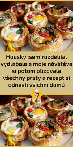 Czech Recipes, Ethnic Recipes, Bruschetta, Baked Potato, Hamburger, Sausage, Toast, Food And Drink, Appetizers