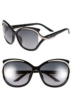 Women's Dior 'Audacieuse' 59mm Butterfly Sunglasses - Shiny Black
