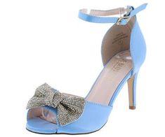 718249b973 Paris15 Blue Satin Crystal Bow Peep Toe Short Heel. Wholesale Fashion ShoesRhinestone  BowShort HeelsBlue ...