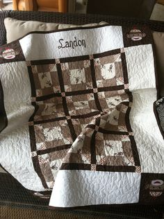Sock monkey baby quilt personalization by sewsosweetdesigns, $10.00