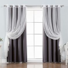 Best Home Fashion, Inc. Mix & Match 6 Piece Zigzag Lace and Solid Blackout Curtain Panel Set Color: Dark Gray