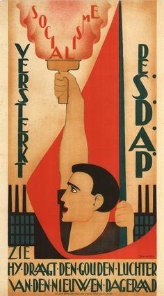 Johan van Hell - poster 'Socialisme, Versterkt de S.D.A.P., Zie hy draagt den gouden luchter van den nieuwen dageraad' (1927)