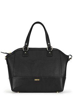 Danier Official Store, Felicia pebble leather satchel , black, Handbags, 131011362