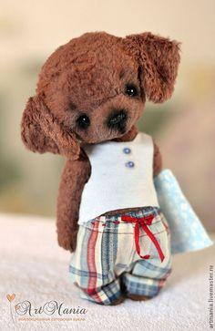 Купить Кекс - коричневый, щенок, блиноухий щенок, щенок-соня, собачка, вискоза 100%, синтипух