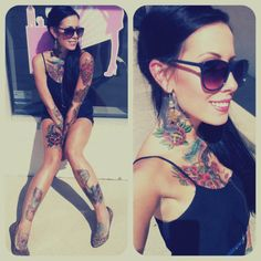 Female in shades and tattoos