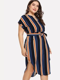 Shop Plus Curved Hem Tie Waist Striped Dress online. SHEIN offers Plus Curved Hem Tie Waist Striped Dress & more to fit your fashionable needs. Buy Dress, Wrap Dress, Shirt Dress, Vestidos Plus Size, Plus Size Dresses, Dresser, Natural Clothing, Stripe Print, Types Of Sleeves