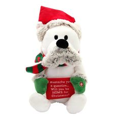 #BFCM #CyberMonday #Walmart Mexico - #Walmart Mexico Peluche navideño animado holiday time oso con bigote y letrero 36 x 16 x 15 cm - AdoreWe.com