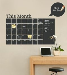 """Stay organized with the help of this chalkboard wall calendar. This calendar wall decal incorporates a black chalkboard vinyl that you can write on and erase. This calendar design also includes an extra """"memo"""" area on the side. Chalkboard Wall Bedroom, Chalkboard Vinyl, Blackboard Wall, Black Chalkboard, Removable Wall Decals, Vinyl Wall Decals, Chalkboard Wall Calendars, Calendar Wall, Calendar Ideas"""