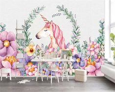 unicorn beibehang children flower mural decoration asiteoneworld