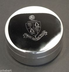 Tri Delta, Delta Delta Delta Sorority Engraved Crest Silver Plate Small Jewelry Box/Pin Box in Good Things From Louisiana.