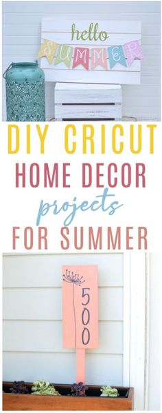 Summer is right around the corner and for some  of us, the summertime weather is already here. Are you excited? We sure are!  We're celebrating with these DIY Cricut Home Decor Projects for Summer! #cricut  #diecutting #diecuttingmachine #cricutmachine #cricutmaker #diycricut  #cricutideas #diycricutprojects #cricutprojects #cricutcraftideas  #diycricutideas #cricutcrafts Vinyl Projects, Diy Craft Projects, Project Ideas, Diy Crafts, Summer Diy, Summer Ideas, Summer Crafts, Diy Decoration, Decor Ideas