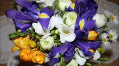 Sweet scented spring bridal bouquet. Iris, ranunculus, freesia and daisy.
