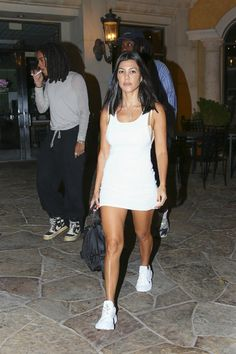 All white? Kourtney Kardashian proved she is made of steely stuff on Tuesday evening as she stepped out for a sushi date in her native Calabasas, while ensuring she looked sensational during the outing with pals Kardashian Family, Summer Outfits, Cute Outfits, Sexy Outfits, Fashion Night, Celebrity Style, Short Dresses, Fashion Outfits, Gowns