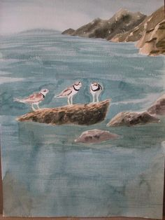 Watercolor titled 'The Three Plovers', by Larissa Peltier.