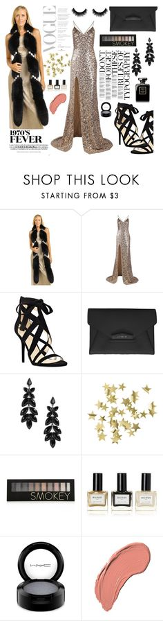"""""""Vivian Fox and Swarovski Crystal Boa in Black"""" by furhatworld ❤ liked on Polyvore featuring Dana, Nine West, Givenchy, H&M, Forever 21, Balmain, MAC Cosmetics, NYX and furhatworld"""