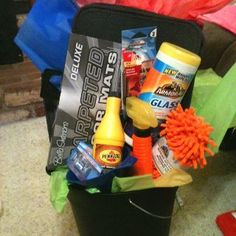 PTO Carnival Car Care themed auction basket I made for a work event! Fundraiser Baskets, Raffle Baskets, Theme Baskets, Themed Gift Baskets, Easter Gift For Adults, Chinese Auction, Best Gift Baskets, Basket Gift, Silent Auction Baskets