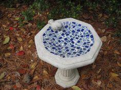 Mini Mosaic Bird Bath by mosaicannie on Etsy