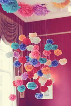 Burst of color Pom poms