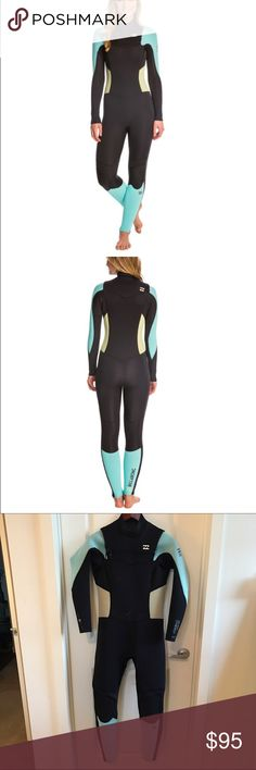 Billabong Women's 4/3mm Synergy Chest Zip Wetsuit Billabong Women's 4/3mm Synergy Chest Zip Wetsuit! Good condition, has been worn so a few tar/wax marks, but otherwise the material and seams are in excellent condition! Billabong Swim One Pieces