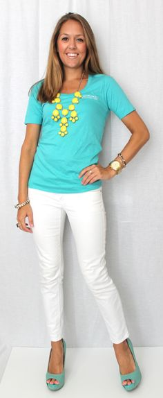 Dress up a casual tshirt with a statement necklace and cute heels