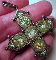 Stunning micro mosaic pendant with dove, wheat, grapes, and lilies.