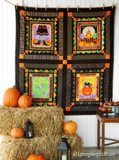 Halloween Quilt Patterns are an important part of Halloween decoration.patterns is the perfect show quilting skills Halloween quilts kits Idea Halloween Candy Crafts, Halloween Table, Halloween Decorations, Halloween Diy, Halloween Quilt Patterns, Halloween Quilts, Fat Quarters, Fall Sewing Projects, Sewing Ideas
