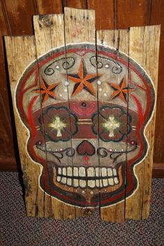 Sugar Skull Pallet Sign by MallettsPalletts on Etsy