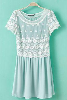 Light Blue Short Sleeve Lace Embroidery Chiffon Dress - Sheinside.com Mobile Site