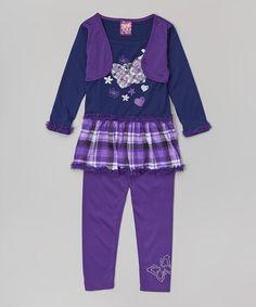 Purple & navy butterfly tee & leggings on Zulily.