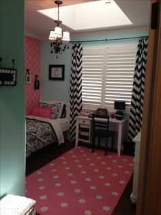 Girls room chevron print polka dots black pink bedroom decor teen