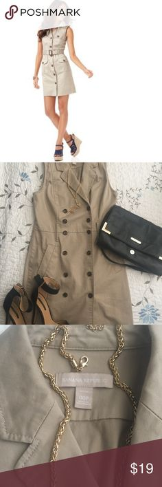 Khaki Dress ~Safari Style Dress 👗🎉🎉💕💕❤️❤️❤️❤️ Khaki Dress ~Safari Style Dress 👗🎉🎉💕💕❤️❤️❤️❤️❤️❤️❤️❤️.       ⭐️Few flaws: the back right side has a stain ⭐️There is another small stain in the inside hem area one photo shows the inside, the other shows the outside which is barely there which is cool. This fabulous dress may just need a good dry cleaning I just don't have the time. Looking to clear out my closet for sure. Paid retail I'm gonna list this for crazy cheap because of the…