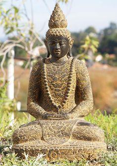 "Stone Meditating Batik Robe Buddha Statue 24.5"""