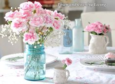 DIY Home Decor. Pink carnations in a blue mason jar. Everyone has their favorite color flower, and for me, decorating with pink flowers is my go-to solution when I need to freshen my home decor.