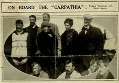 This is a  photograph of Titanic survivors Laura Francatelli, standing second right, and her employers, Lady Lucy Duff-Gordon, standing third left, and Sir Cosmo Duff-Gordon, standing directly behind Lady Lucy, on the rescue ship Carpathia.  Anonymous