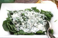 Blue cheese and spinach. A delicious version of a white & green salad!  www.victoriaamory.com